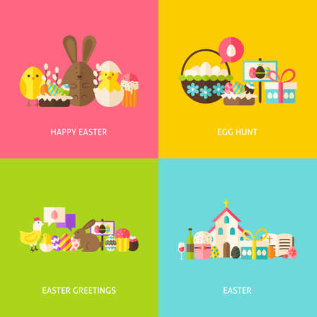 Happy easter greetings flat concepts set flat design vector happy easter greetings flat concepts set flat design vector illustration collection of spring christian m4hsunfo