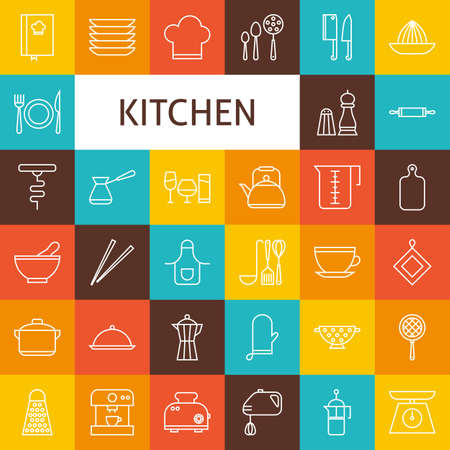 cooking utensils: Vector Line Art Kitchenware and Cooking Utensils Icons Set. Vector Set of Modern Thin Outline Kitchen Appliances over Colorful Squares.