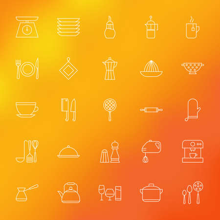 Kitchen Appliances and Cooking Line Icons Set over Blurred Background. Vector Set of Modern Thin Outline Kitchenware Items.