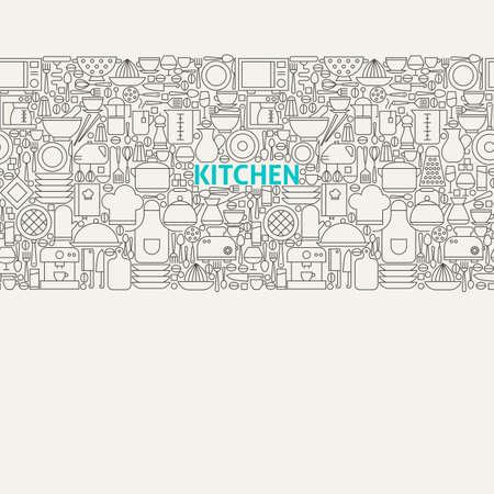 Kitchen Utensils Line Art Seamless Web Banner. Vector Illustration for Website banner and landing page. Kitchenware and Cooking Modern Design.