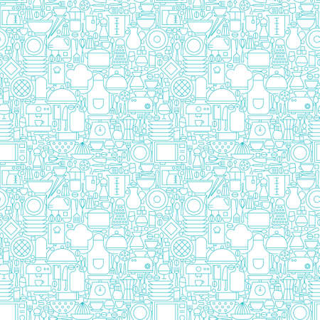 Thin Line Kitchen Appliances and Cooking White Seamless Pattern. Vector Website Design and Seamless Background in Trendy Modern Outline Style. Kitchenware Utensils.