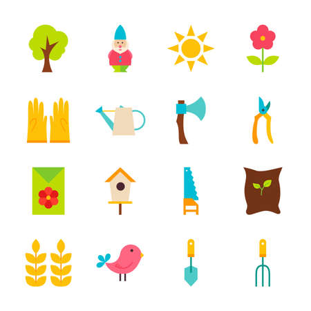 agriculture icon: Gardening Tools Objects Set isolated over White. Flat Design Vector Illustration. Collection of Nature Spring Garden Items.