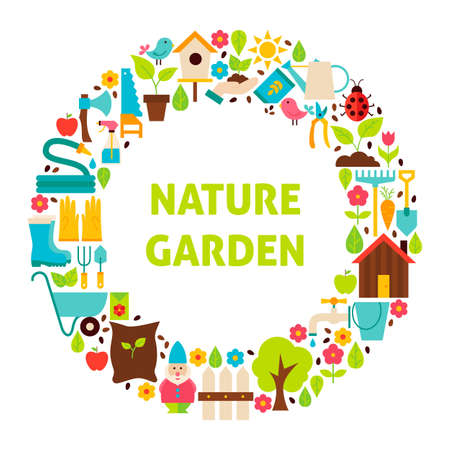 Flat Circle Set of Nature Garden Objects. Vector Illustration. Collection of Spring Gardening Tools Isolated over white.