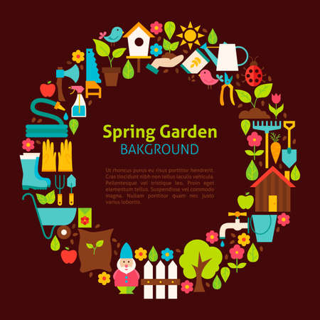 secateur: Flat Circle Collection of Spring Garden Objects. Vector Illustration. Set of Nature Gardening Tools over brown background.