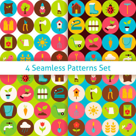 secateur: Four Spring Garden Seamless Patterns Set with Circles. Flat Design Vector Illustration. Background. Set of Nature Gardening Tools Items.