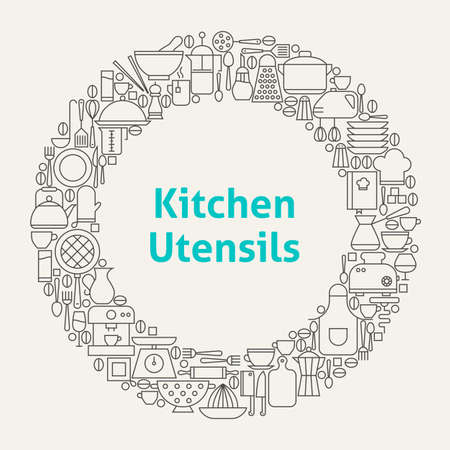 cooking utensils: Kitchen Utensils Line Art Icons Set Circle. Vector Illustration of Kitchenware and Cooking Objects.