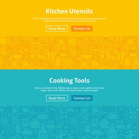 Cuisine et Cuisine Art Web Banners Set. Illustration Vecteur de bannière de site Web et la page de destination. Ustensiles de cuisine et appareils électroménagers design moderne.