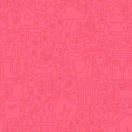 modern garden: Thin Gardening Tools Line Seamless Pink Pattern. Website Design and Seamless Background in Trendy Modern Outline Style. Nature Flowers and Garden. Illustration