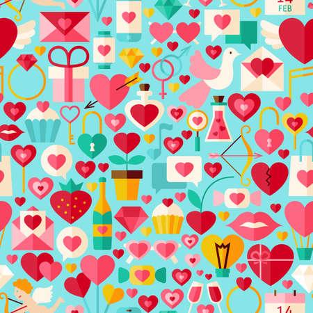poison arrow: Valentine Day Blue Seamless Pattern. Love Flat Design Illustration. Tile Background. Set of Wedding Items. Illustration