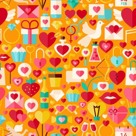 poison arrow: Valentine Day Orange Seamless Pattern. Love Flat Design Illustration. Tile Background. Set of Wedding Items.
