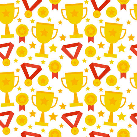 winning first: Seamless Pattern Sport Competition Trophy Winning. Flat Style Tile Texture Background. Sports and Recreation. First Place. Award with Star. Cup with Gold Star