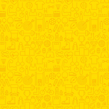 dieting: Healthy Lifestyle Fitness Dieting Yellow Seamless Pattern. Vector Sport Design and Seamless Background in Trendy Modern Line Style. Thin Outline Art