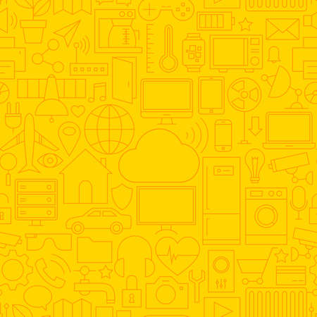 internet background: Thin Line Internet of Things Seamless Yellow Pattern. Vector Web Design Seamless Background in Trendy Modern Line Style. Technology Smart Home Outline Art. Illustration