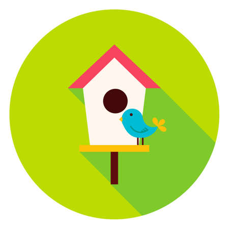Birdhouse with Bird Circle Icon. Flat Design Vector Illustration with Long Shadow. Nature Gardening Symbol.