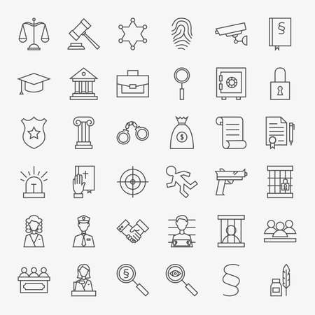 Law and Justice Line Art Design Icons Big Set. Vector Set of Modern Thin Outline Legal and Crime Symbols.