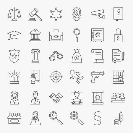 Wet en Rechtvaardigheid Line Art Design Icons Grote Reeks. Vector Set van moderne Thin Outline Juridische en Crime Symbolen.