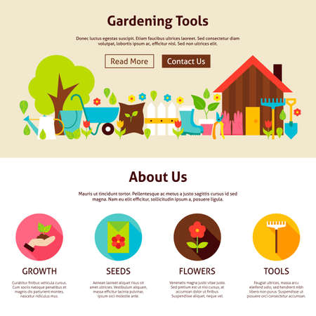 secateur: Gardening Tools Flat Web Design Template. Vector Illustration for Website banner and landing page. Garden Header with Icons Modern Design. Illustration