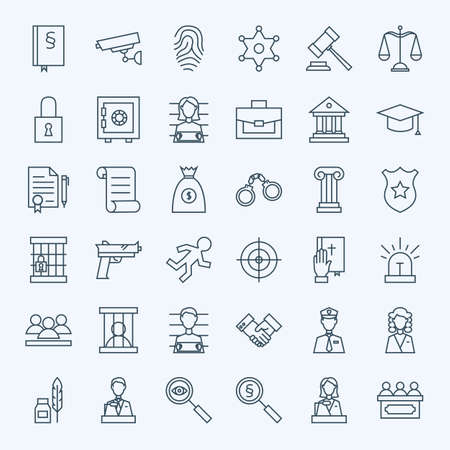pledge: Line Lawyer Attorney and Crime Icons Set. Vector Set of Modern Thin Outline Law and Justice Items.