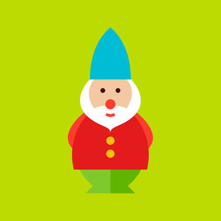 lawn gnome: Garden Dwarf Icon. Flat Design Vector Illustration. Nature Gardening Symbol.