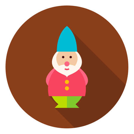 lawn gnome: Garden Gnome Circle Icon. Flat Design Vector Illustration with Long Shadow. Nature Gardening Symbol.