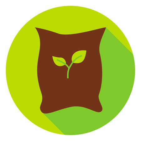 bagful: Garden Bag with Plant Seeds Circle Icon. Flat Design Vector Illustration with Long Shadow. Nature Gardening Symbol.