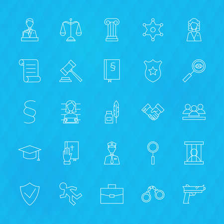 pledge: Law and Justice Line Icons Set over Polygonal Background. Vector Set of Modern Thin Outline Lawyer and Attorney Items.