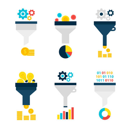 Funnel Chart Flat Objects Set isolated over White. Flat Design Vector Illustration. Collection of Data Filter Items. Funnel Conversion.