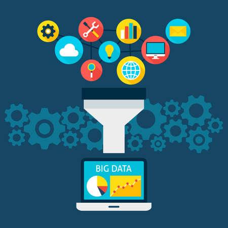 Sales Funnel Big Data Flat Style-Konzept. Vektor-Illustration von Big Data Filter. Laptop mit Datenanalyse.