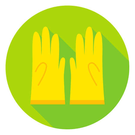 long gloves: Garden Gloves Circle Icon. Flat Design Vector Illustration with Long Shadow. Gardening Object Symbol.