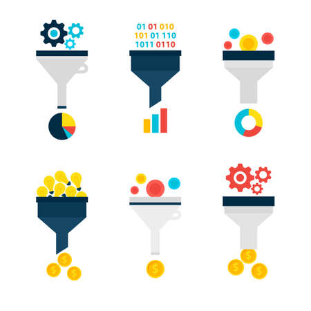 conversion: Business Sales Funnel Objects Set isolated over White. Flat Design Vector Illustration. Collection of Data Filter Items. Funnel Conversion.