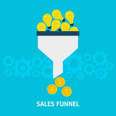 Sales Funnel Het omzetten van ideeën in Money Flat Style Concept. Vector Illustratie van Data Tunnel en creatieve proces.