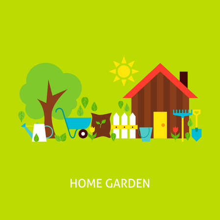home garden: Home Garden Concept. Flat Poster Design Vector Illustration. Collection of Nature Gardening Colorful Objects.