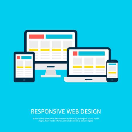software design: Responsive Web Design Gadgets Flat Concept. Vector Illustration of Laptop Desktop Tablet Phone Devices.