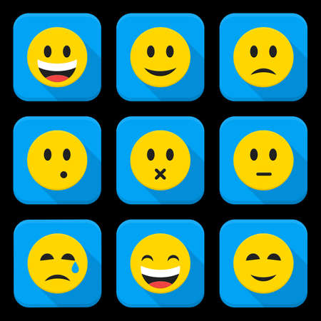 emotion expression: Yellow Smiling Faces Squared App Icon Set. Vector Illustration of Flat Style Icons Square Shaped. Illustration
