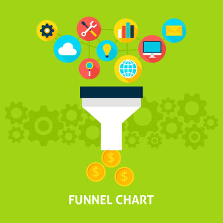 saas: Funnel Chart Flat Style Concept. Vector illustration of Big Data Filter. Data Analysis.