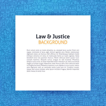 art piece: Paper Template over Law and Justice Line Art Background. Vector Illustration of Piece of Paper over Attorney Lawyer and Crime Outline Modern Design.