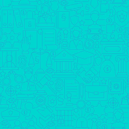 barrister: Thin Line Blue Law and Justice Seamless Pattern. Vector Website Design and Seamless Background in Trendy Modern Outline Style. Lawyer Attorney and Crime.