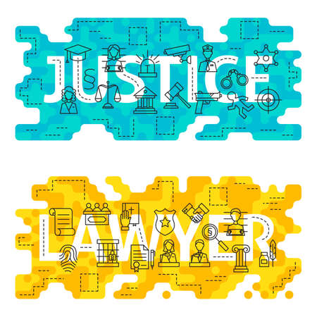 counsel: Justice Lawyer Word Outline Flat Concept. Vector Illustration of Thin Line Law and Crime Banner for Website and Web.