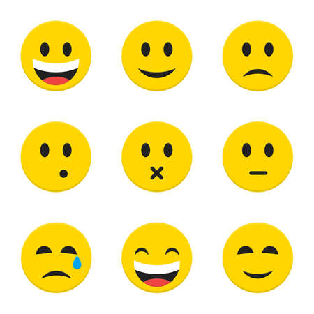 Yellow Smiley Faces Objects. Vector Illustration of Flat Style Icons isolated over White. Vetores