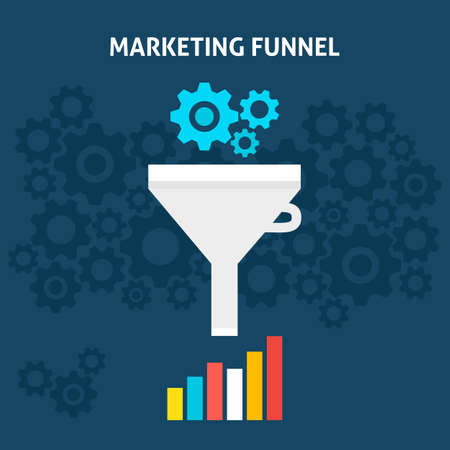 Marketing Funnel Flat Style Concept. Vector Illustration of Data Filter. Big Data Analysis.