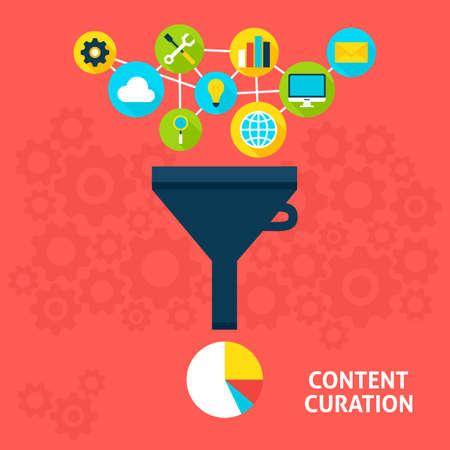 Content Curation Flat Style Concept. Vector illustratie van Big Data Filter. Data Analysis. Stockfoto - 57318336