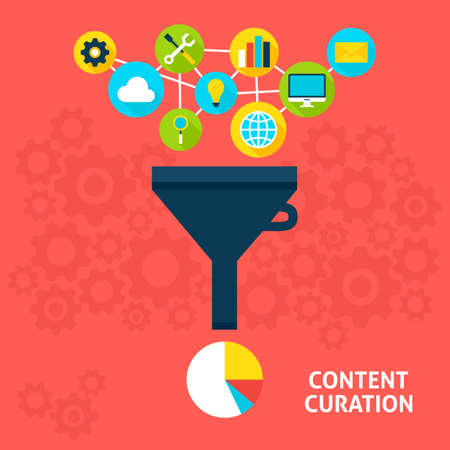 Content Curation Flat Style Concept. Vector illustration of Big Data Filter. Data Analysis.