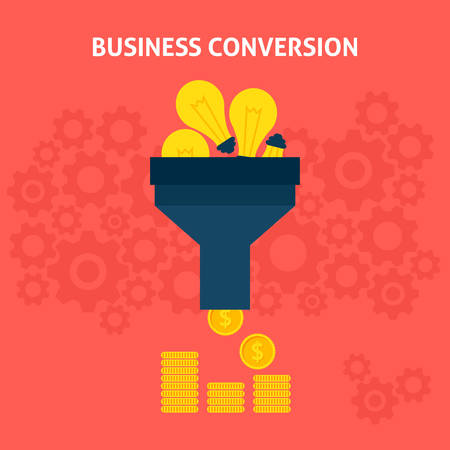 conversion: Business Conversion Flat Style Concept. Vector Illustration of Data Funnel and Creative Process.