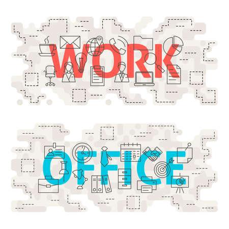 website words: Work Office Words Line Art Concept. Vector Illustration of Thin Outline Business Workplace Banner for Website and Web. Illustration