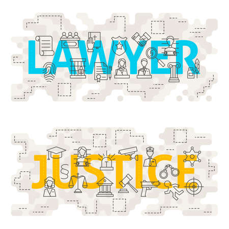 Lawyer Justice Line Art Concept. Vector Illustration of Thin Outline Law and Crime Banner for Website and Web. Vektorové ilustrace