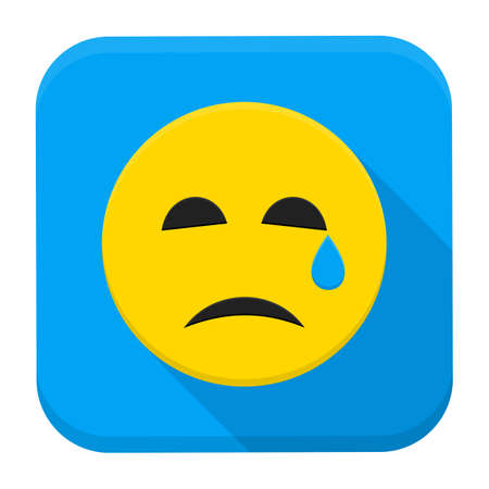 emotion expression: Crying Yellow Smiley Face App Icon. Vector Illustration of Flat Style Icon Squre Shaped with Long Shadow.