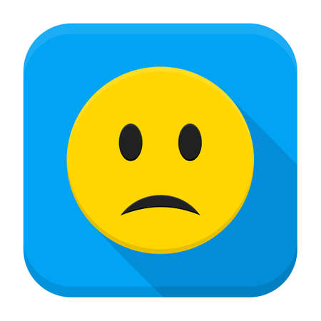 emotion expression: Sad Yellow Smiley App Icon. Vector Illustration of Flat Style Icon Squre Shaped with Long Shadow.
