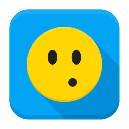 emotion expression: Surprised Yellow Smiley App Icon. Vector Illustration of Flat Style Icon Squre Shaped with Long Shadow.