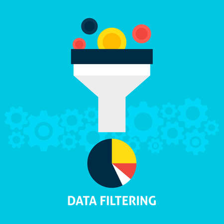 filtering: Data Filtering Flat Style Concept. Vector Illustration of Data Filter. Big Data Analysis.
