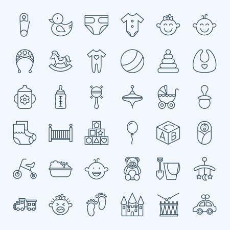 teteros: Línea de bebé y juguetes para niños de conjunto de iconos. Conjunto de esquema fino moderno muchacho niñez y chicas artículos.